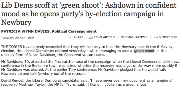Lib Dems Scoff At  Green Shoot   Ashdown In Confident Mood As He Opens Party S By-Election Campaign In Newbury - Uk Politics, Uk - The Independent