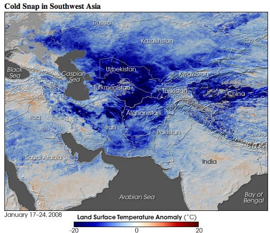 Eo Newsroom  New Images - Cold Snap In Southwest Asia