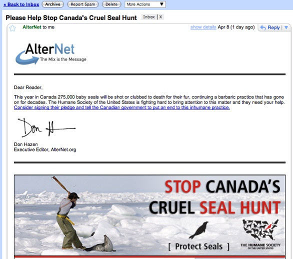 Gmail - Please Help Stop Canada S Cruel Seal Hunt - Panglossiannotes@Gmail.Com